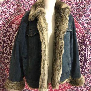 Vintage Fabio Denim Faux Fur Coat